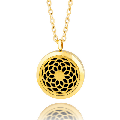 Essential oil diffuser necklace, aromatherapy locket yellow gold