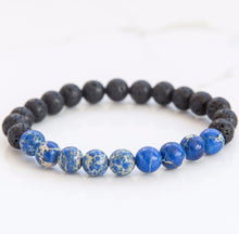 Blue Imperial Jasper & Lava Stone diffusing bracelet for essential oil aromatherapy jewelery