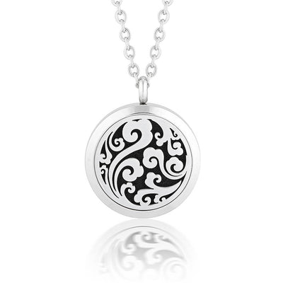 Essential oil diffuser necklace, aromatherapy locket flourish