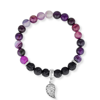 Purple agate and lava stone essential oil diffuser bracelet.  Aromatherapy jewellery