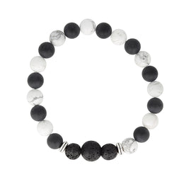 Howlite & Onyx Essential Oil Diffuser Bracelet