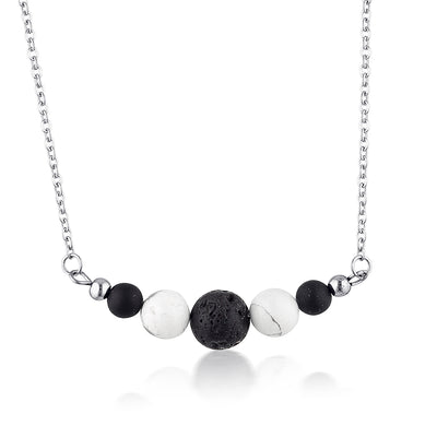Howlite & Onyx Essential Oil Diffuser Necklace
