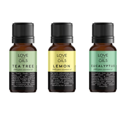 Essential Oils for immune support.  Tea tree, lemon and eucalyptus 100% pure aromatherapy oils.
