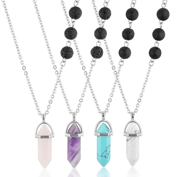 essential oil lava stone diffuser necklace jewellery rose quartz howlite turquoise amethyst