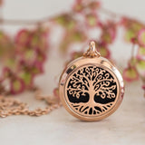 Essential oil diffuser necklace, aromatherapy locket rose gold tree of life