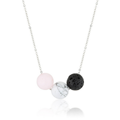 lava stone, howlite and rose quartz aromatherapy necklace essential oil diffuser jewellery