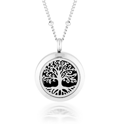 Essential oil diffuser necklace, aromatherapy locket stainless steel tree of life silver