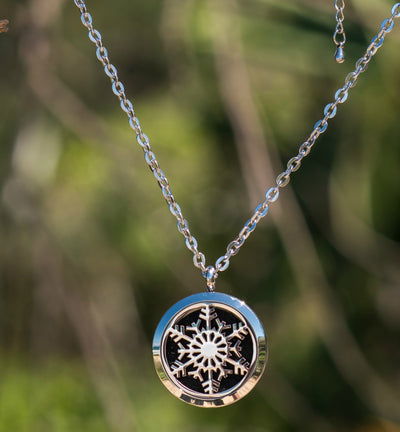 Snowflake design essential oil diffusing necklace stainless steel