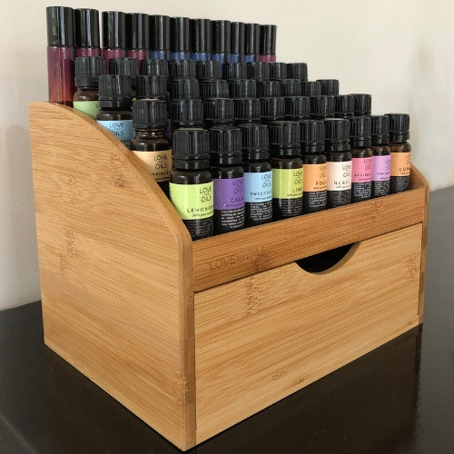 large bamboo essential oil storage box.  Wooden box to display essential oils.