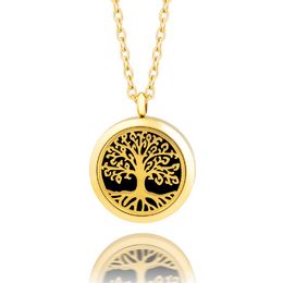 Essential oil diffuser necklace, aromatherapy locket tree of life yellow gold
