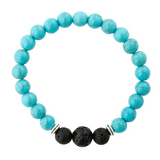 Turquoise gemstone essential oil diffuser bracelet.  Aromatherapy jewellery.