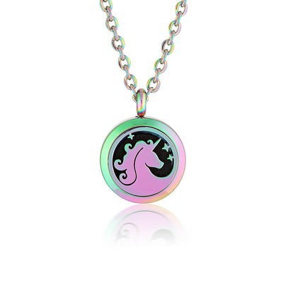 Essential oil diffuser necklace, aromatherapy locket unicorn for kids