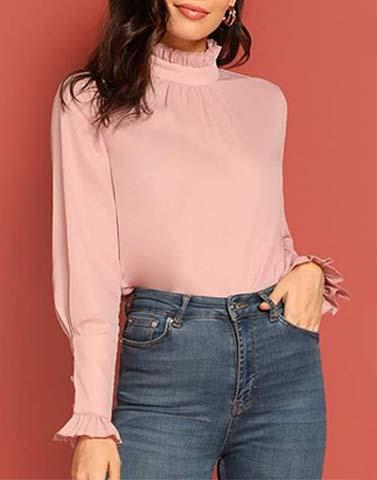 Trendy Turtleneck  Pink Top