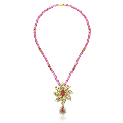 Kshitij Jewels Gold Pink Metal Pendant Jewellery Set For Women (KJ 055)