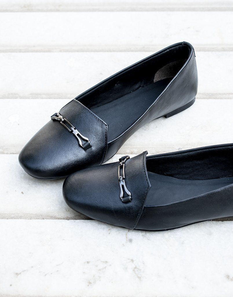 Step Across Black Leather Flats