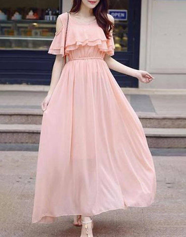 Cold Shoulder Long Dress