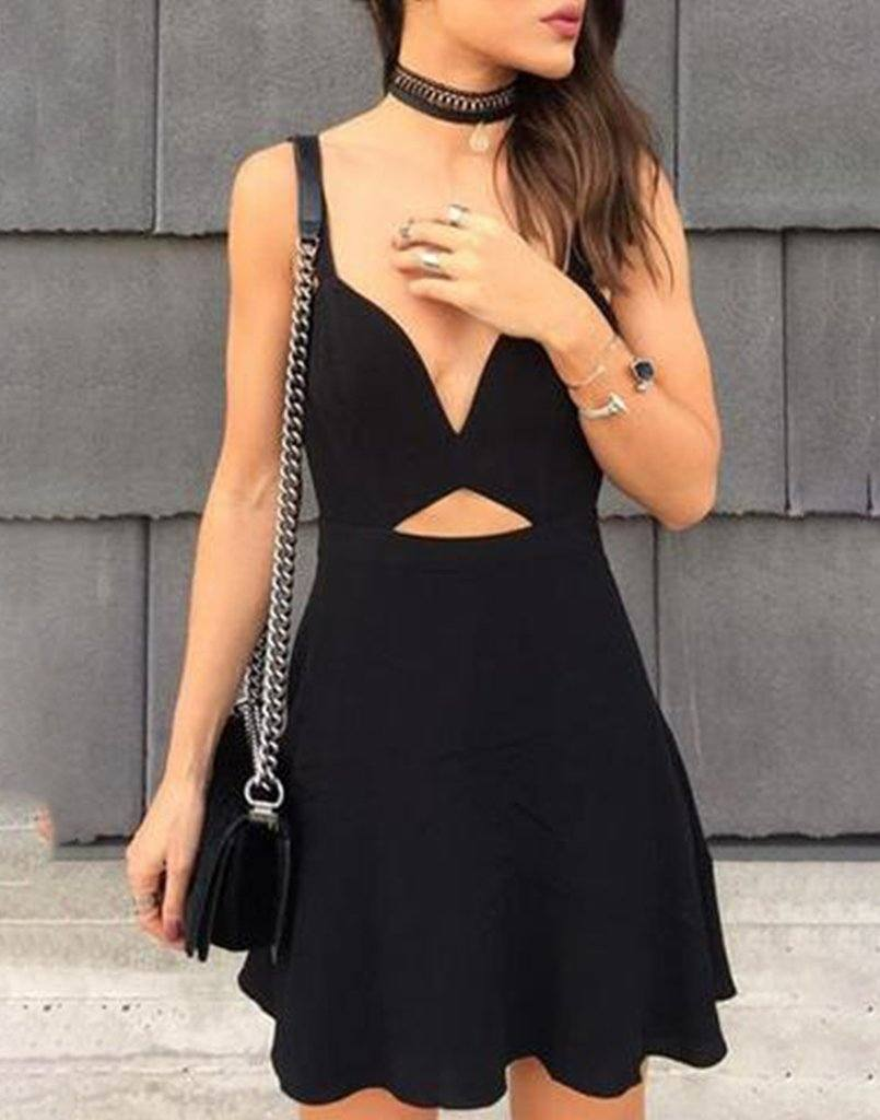 Stylish Designer Cut-Out Flared Dress