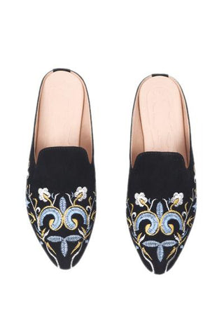 Black Embroidery Mule Flat