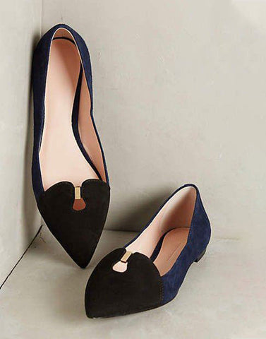 Black Blue Pointed Toe Ballerina