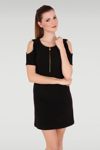 Cold Shoulder Black Sheath Dress