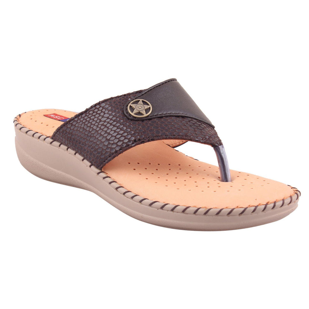 MSC Women Leather Black Sandal
