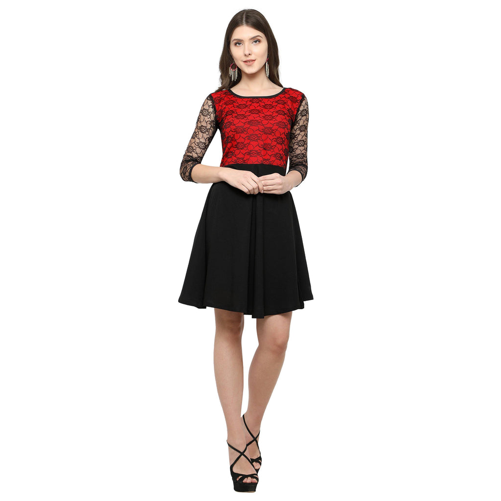 Floral Lace Panel Flared Dress