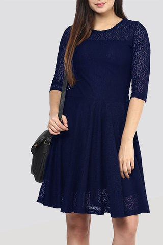 Navy blue  Knee Net Length Dress