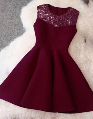 Sequine Yoke Wine Dress