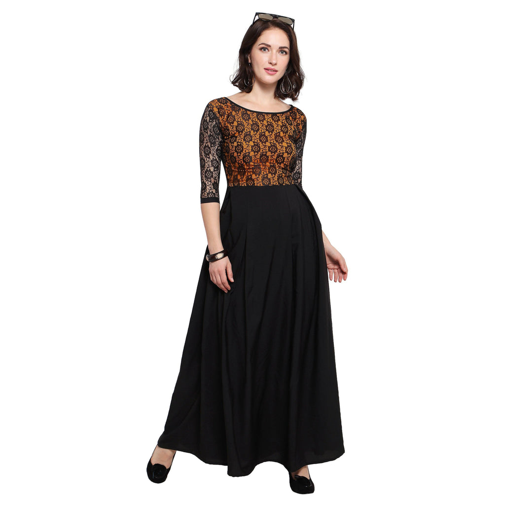 Floral Lace Panel Pleated Maxi Dress