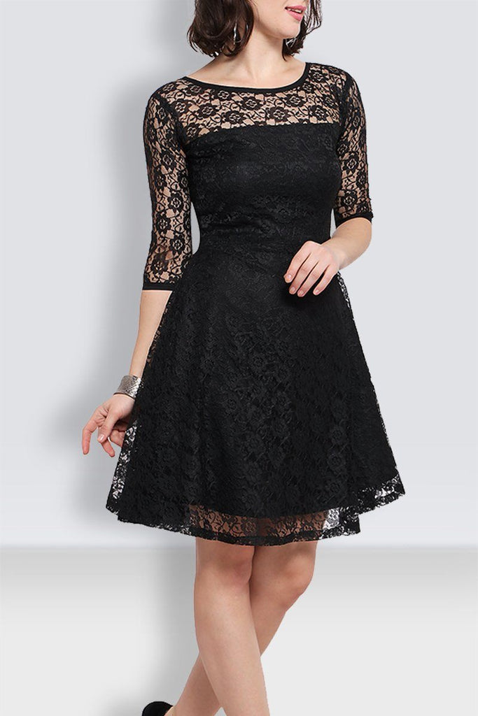 Black  Knee Length Net Dress