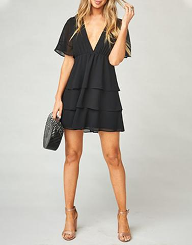 Flirty V-Neck Black Dress