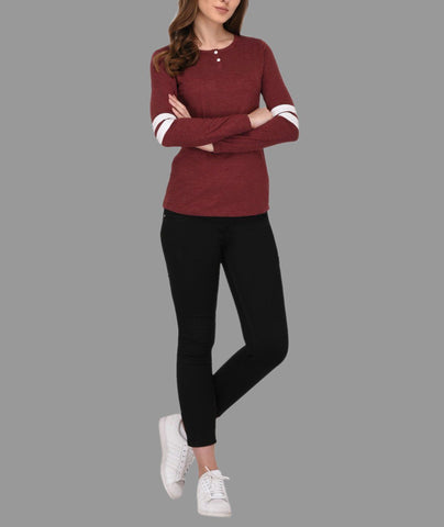 Maroon Striped Sleeves Henley Neck Top