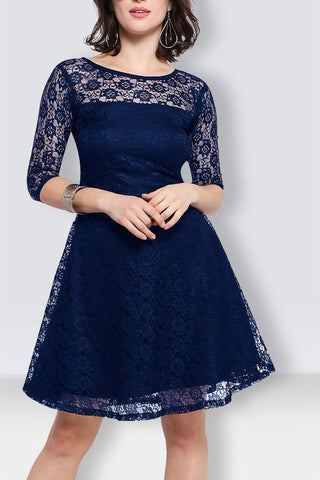 Blue lace Knee Length Dress