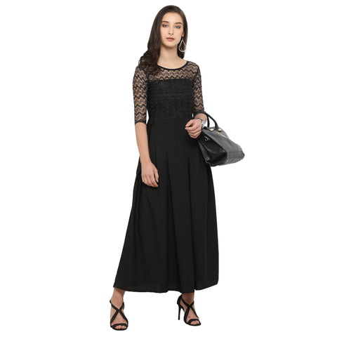 Laced Panel Pleated Maxi Dress