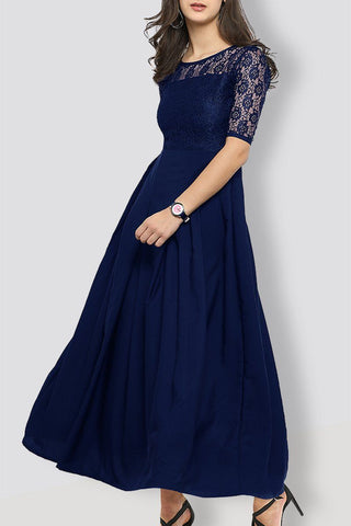 Navy Blue Lace Maxi Dress