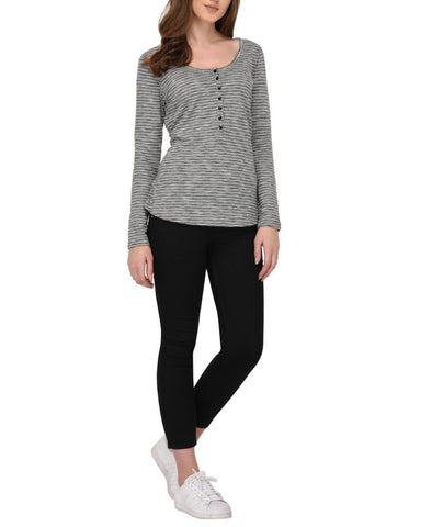 Shimmer Striped Henley Neck Top
