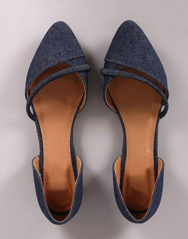 Blue Pointed Toe Ballerina