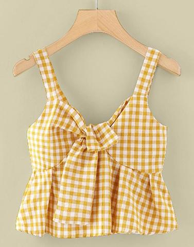Bright Yellow Gingham Top