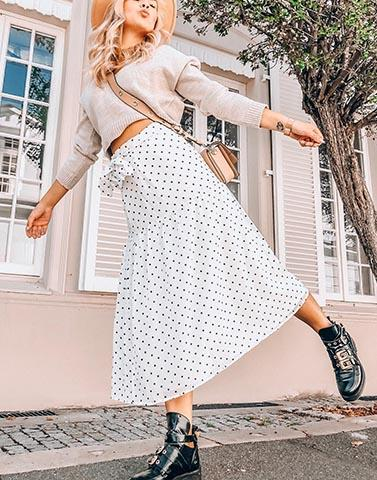 Stylish Strolls Polka Dot White Skirt