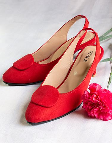 Bright Red Sling Back Kitten Heels