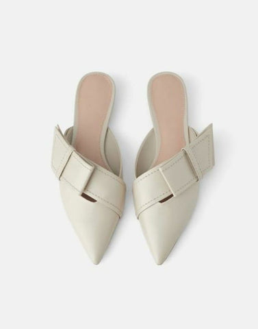 Flap In Fabulous Nude Mules