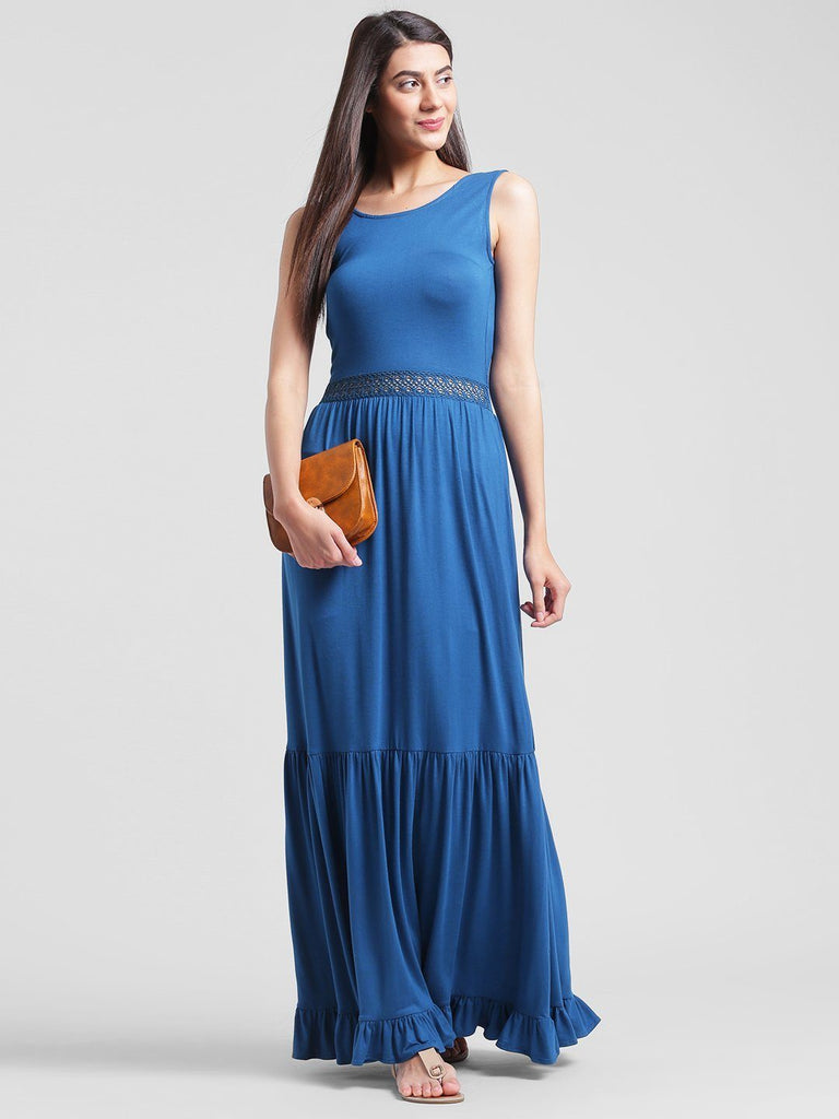 Blue Lace Insert Maxi Dress