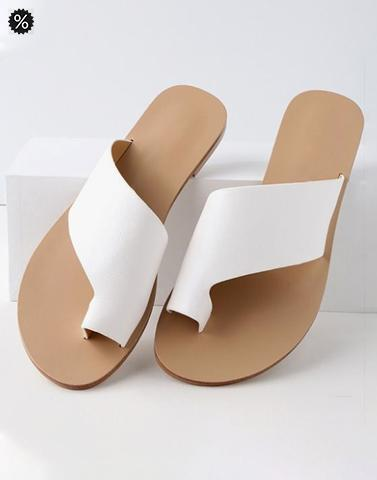 All White Wide Strap Sandals