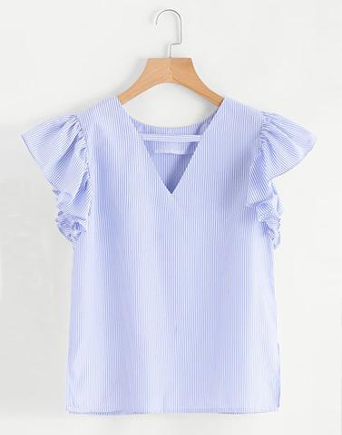 Powder Blue Ruffle Sleeve Top
