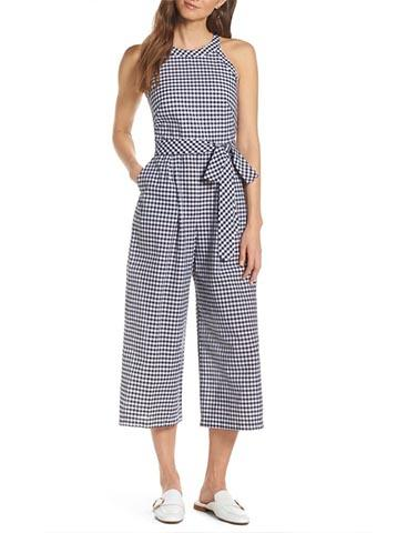 Chic Checkered Monohromatic Jumpsuit