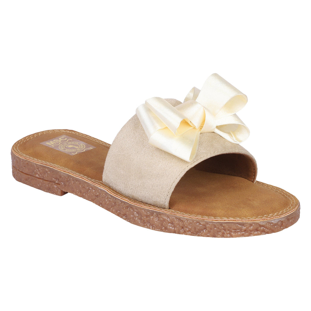 MSC Women Cream Synthetic Crepe Stylish Sandals