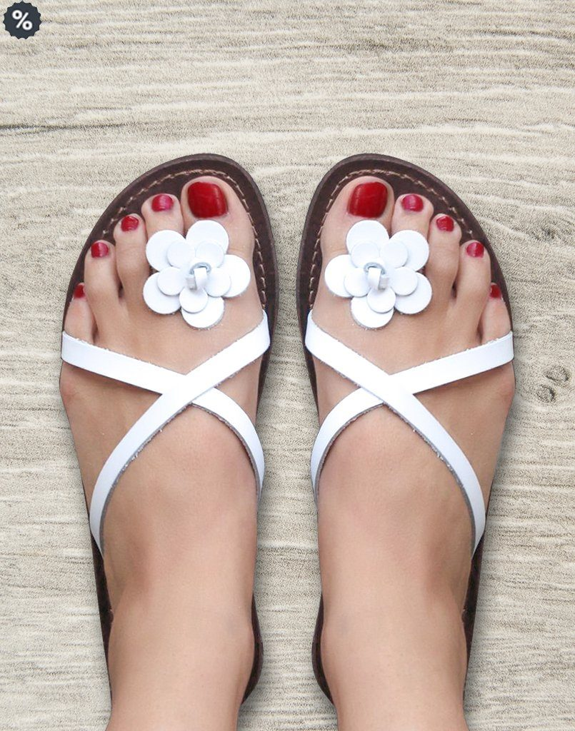 Flowery Toe White Funky Flats