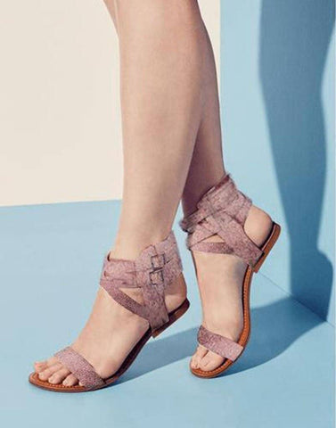 Nude Pink Classy Strappy Flats