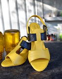 Yellow Stylish Leather Heels
