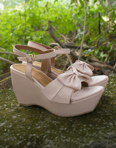 Pretty Bow Baby Pink Wedge Heels